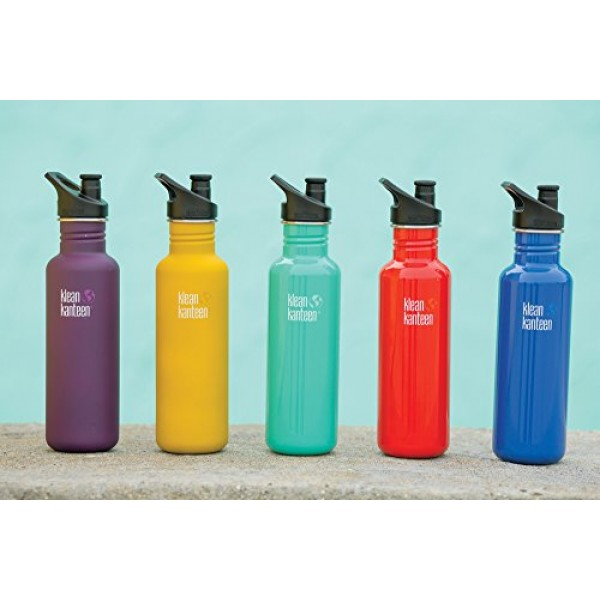 Klean Kanteen Classic Stainless Steel Water Bottle, Single Wall and Leak Resistant Sport Cap 3.0