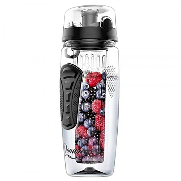 Danum Fruit Infuser Water Bottle Large 32oz New Full Length Infusion Basket, Leak-Proof, Flip-Top, Dual Hand Grips, Made of BPA-Free Eastman Tritan with Multiple Color Options & Free Recipe Ebook