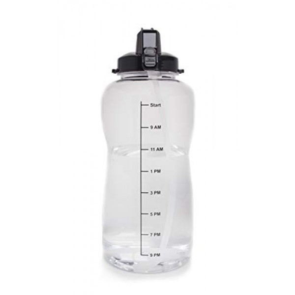 1 Gallon (128oz) Water Bottle With a Straw - Motivational Time Increments to Ensure 1 Gallon Water Intake Per Day. Time Goals to Make Sure You Stay Hydrated. BPA Free Water Jug!