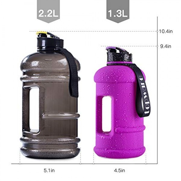 2.2l Litre and 1.3l Big Capacity BPA Free Leakproof Plastic Half Gallon Gym Sports Water Bottle Large Training Drinking Water Jug Hydrate Container Lightweight with Easy Carry Strap and Flip up Cap