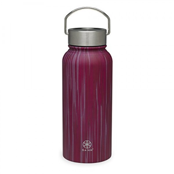 Gaiam Water Bottle Wide-Mouth Stainless Steel, 18 oz or 32 oz