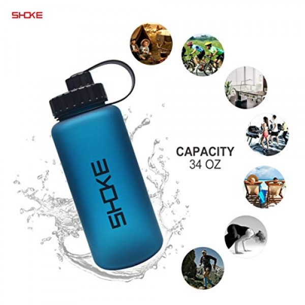 1 LWaterBottle, Plastic Tritan Water Bottles with Wide Mouth, 34oz Large BPA Free Leak-Proof for Gym Sport