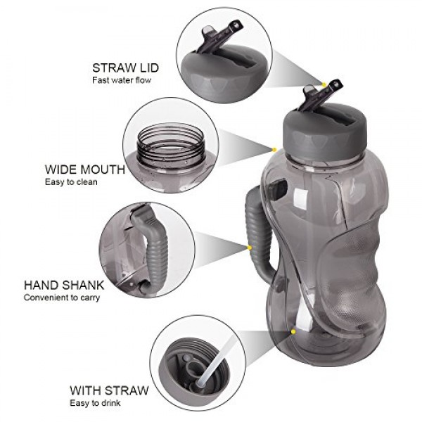 1.5L Large Capacity Sports Water Bottle BPA Free Water Jug with Handle, Leak proof Drinking Bottles Water Container Fitness and Reusable for Outdoor Sports Cycling Camping Hiking Gym Workout & Office