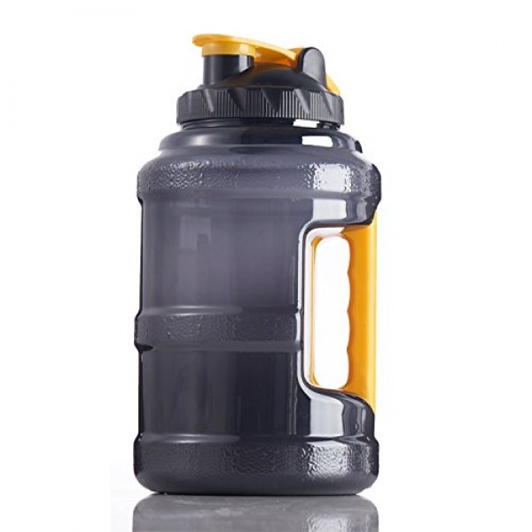 Large Plastic Fitness Water Jug for Outdoor Camping Fitness Training Bodybuilding FRITHDAIL Gym Drinking Bottle 2.5 Liters BPA Free Sports Water Bottle with Handle 2.5 Liters BPA Free Sports Water Bottle with Handle Black+Yellow