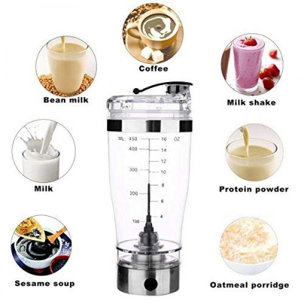 2018 Model High Torque Vortex Mixer Cup   USB Rechargeable   Portable   Stainless Steel   BPA free   16 Oz (450 ml)