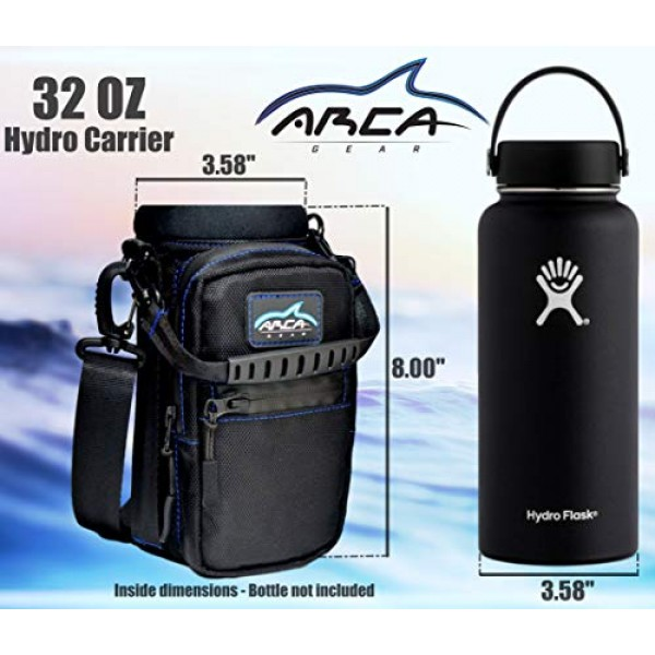 Arca Gear 32 Oz Water Bottle Holder with Shoulder Sling & Hand Strap | Built in Wallet and Large Water Resistant Phone Pocket for Storing Items | Protect Your Flask