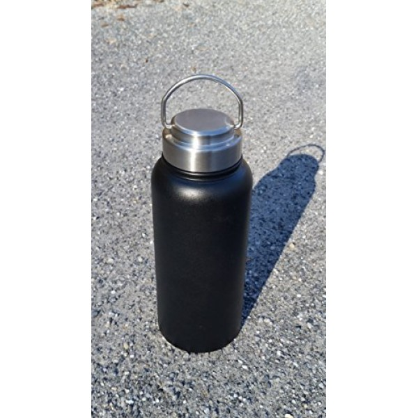 Hood River Stainless Steel Cap Lid Top with Flip Up Carry Handle for Hydro Flask Type Wide Mouth Bottles