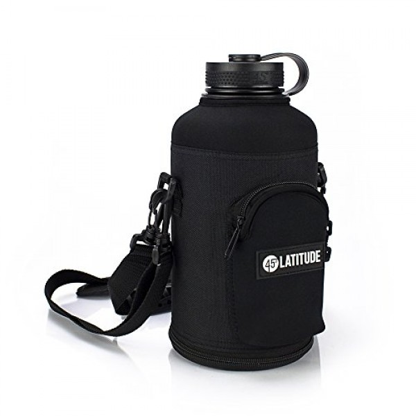 45 Degree Latitude Beer Growler 64oz Protective Carrier Tote Black Nylon & Neoprene Sleeve with Shoulder Strap (Bottle Sold Separately) Fits Hydro Flask and Other Popular Brands